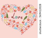cupcakes  hearts  balloons ... | Shutterstock .eps vector #569412028