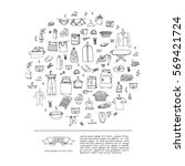 hand drawn doodle laundry set... | Shutterstock .eps vector #569421724