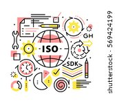 iso business standards collage... | Shutterstock .eps vector #569424199