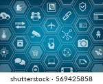 internet of things iot blue... | Shutterstock .eps vector #569425858
