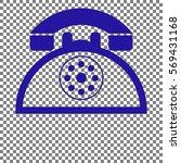 retro telephone sign. blue icon ...