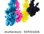 cmyk color paint in cyan ... | Shutterstock . vector #569431606