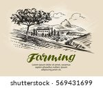 farm sketch. agriculture  rural ... | Shutterstock .eps vector #569431699