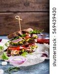 fresh sandwich with guacamole ... | Shutterstock . vector #569439430