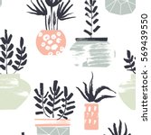 hobby pattern. plants in pots.... | Shutterstock .eps vector #569439550