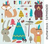 vector set of woodland tribal... | Shutterstock .eps vector #569440600