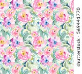 watercolor floral pattern. pink ...   Shutterstock . vector #569441770