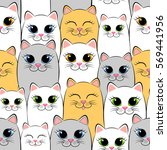 seamless pattern with cats. ... | Shutterstock .eps vector #569441956