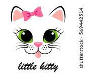 Stock vector cute white kitten with pink bow girlish print with kitty for t shirt 569442514