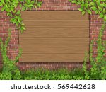 a wooden sign nailed to the... | Shutterstock .eps vector #569442628