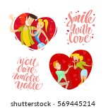 vector collection of flat happy ... | Shutterstock .eps vector #569445214