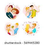 vector collection of flat happy ... | Shutterstock .eps vector #569445280