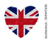 Small photo of Hand drawn heart with flag of United Kingdom.