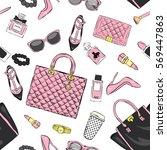 set of stylish women's...   Shutterstock .eps vector #569447863