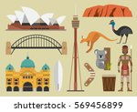 australia flat illustration ... | Shutterstock .eps vector #569456899