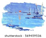 seascape with boats and sun.... | Shutterstock . vector #569459536