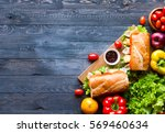 delicious and tasty sandwiches... | Shutterstock . vector #569460634