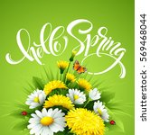 inscription hello spring hand... | Shutterstock .eps vector #569468044