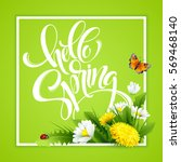 inscription hello spring hand... | Shutterstock .eps vector #569468140
