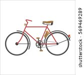 hipster bicycle flat vector... | Shutterstock .eps vector #569469289