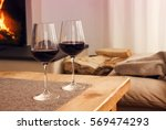 closeup of two glasses with red ... | Shutterstock . vector #569474293