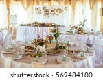 wedding table appointments with ... | Shutterstock . vector #569484100