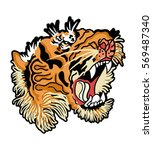 japanese tiger with flowers... | Shutterstock .eps vector #569487340