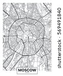 vector poster map city moscow | Shutterstock .eps vector #569491840