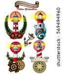 Vector Lighthouse Set Vintage...