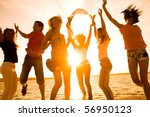 group of happy young people... | Shutterstock . vector #56950123