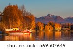 warm colors of sunset at... | Shutterstock . vector #569502649
