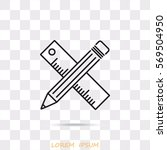 line icon  pencil and ruler | Shutterstock .eps vector #569504950