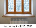 Wooden Window. Heater Radiator...