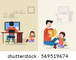 vector flat illustration of... | Shutterstock .eps vector #569519674