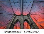 brooklyn bridge in new york...   Shutterstock . vector #569523964
