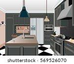 kitchen  design  kitchen icon... | Shutterstock .eps vector #569526070