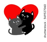 black gray cat hugging couple... | Shutterstock .eps vector #569527060