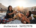 happy young people toasting... | Shutterstock . vector #569527978