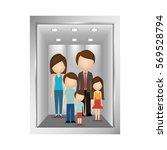 picture open building elevator... | Shutterstock .eps vector #569528794