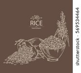 Background With Rice  Bag Of...