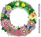 rounder frame made of flowers ...   Shutterstock .eps vector #569539336
