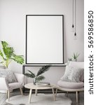 mock up poster frame in hipster ... | Shutterstock . vector #569586850