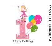 happy first birthday greeting...   Shutterstock .eps vector #569587138