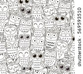Doodle Owls Seamless Pattern....