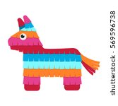 funny colorful character pinata ... | Shutterstock .eps vector #569596738
