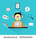 customer support manager with... | Shutterstock .eps vector #569610424