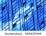 transparent wall reflecting... | Shutterstock . vector #569629444