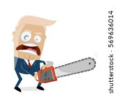 donald trump with chainsaw | Shutterstock .eps vector #569636014