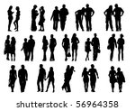 drawing couples on the walk.... | Shutterstock . vector #56964358
