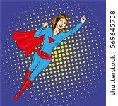 super hero woman flying poster...   Shutterstock . vector #569645758